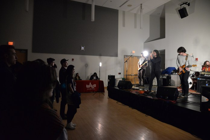 The Merks vows crowds during the 2017 Spring Fling hosted by WHUS in a packed Student Union Ballroom on Saturday evening. (Amar Batra/The Daily Campus)