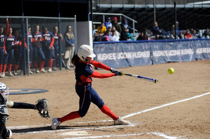 Sophomore Ally Hernandez batting in UConn's game against Bryant University on March 29. (Jason Jiang/The Daily Campus)
