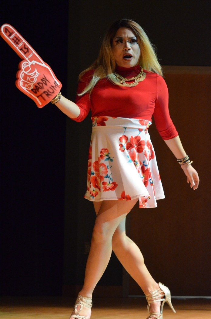 """Hazel Berry-Rose performs a rendition of P!nk's """"Stupid Girls"""" during the annual drag show on Tuesday evening. (Akshara Thejaswi/The Daily Campus)"""