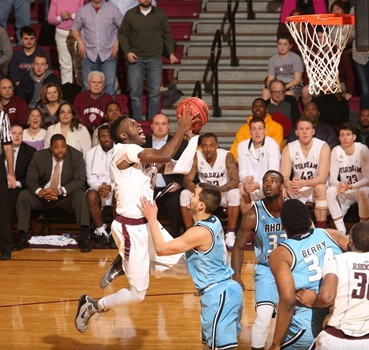 Guard Antwoine Anderson goes up for a shot in a game against Rhode Island.Anderson announced his commitment to UConn for the 2017-18 season, where he will play as a graduate transfer. (Photo courtesy fordhamsports.com)