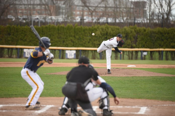 Sophomore pitcher Ronnie Rossomando dealt through six innings against the Bobcats, letting up three earned runs. (Zhelun Lang/The Daily Campus)