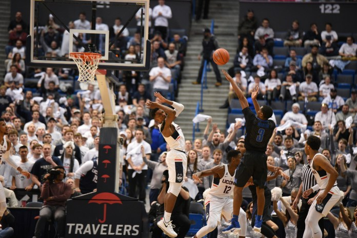 NCAA postseason play will come to Hartford after the NCAA announced that the first and second rounds of the 2019 NCAA Division I Men's Basketball Tournament will be held at the XL Center in Hartford. (Zhelun Lang/The Daily Campus)