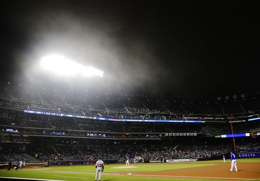 The New York Mets play the Washington Nationals during the fifth inning of a baseball game Friday, April 21, 2017, in New York. (AP Photo/Frank Franklin II)