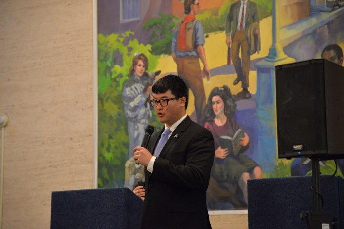 Former USG speaker of the senate George P. Wash speaks at the USG debate in the Student Union on February 23, 2017. (Amar Batra/The Daily Campus)