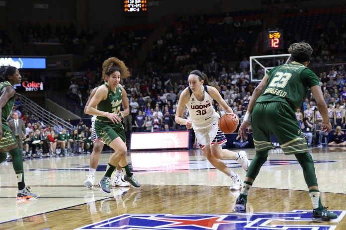 Pictured: Breanna Stewart (number 30) plays against USF in their final game of the season in 2016. Stewart is also in the running for being one of UConn's most memorable female athletes. (Tyler Benton/ The Daily Campus)