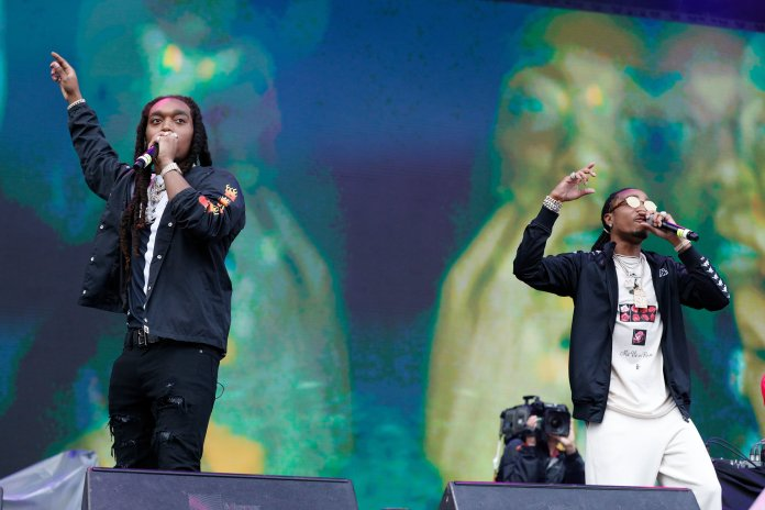 Rap trio Migos performs at the Boston Calling music festival on Saturday, May 27, 2017. The group filled a vacant spot, and fans were treated to a surprise performance that was announced less than 24 hours before the festival began.(Photo courtesy 44 Communications)
