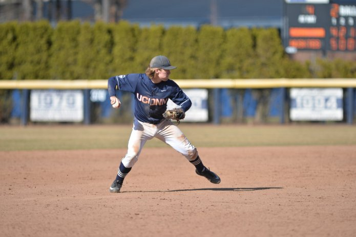 Willy Yahn fields a ground ball during a game against Memphis on April 8 at J.O. Christian Field. (Amar Batra/The Daily Campus)