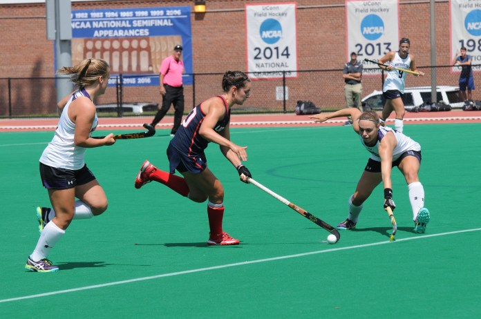 Huskies move the ball against Northwestern. (Olivia Stenger/The Daily Campus)