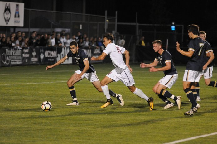 The men's soccer team lost to the Fighting Irish on Saturday, Sept.2. Notre Dame scored late in the second half to win the game. Photo by Jon Sammis, Grab Photographer/Daily Campus