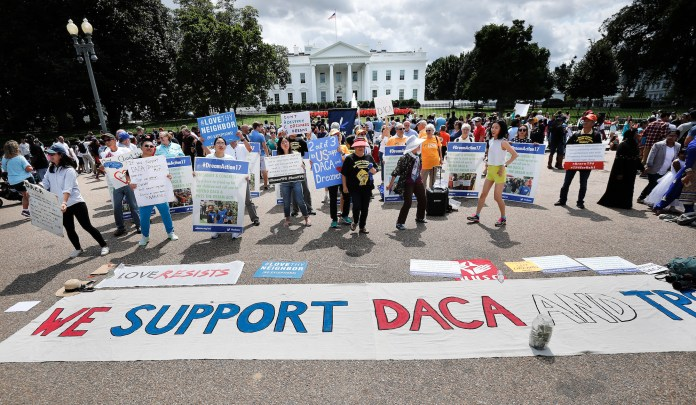 Supporters of Deferred Action for Childhood Arrivals program (DACA), demonstrate on Pennsylvania Avenue in front of the White House in Washington on Sept. 3, 2017. (Pablo Martinez Monsivais/AP)