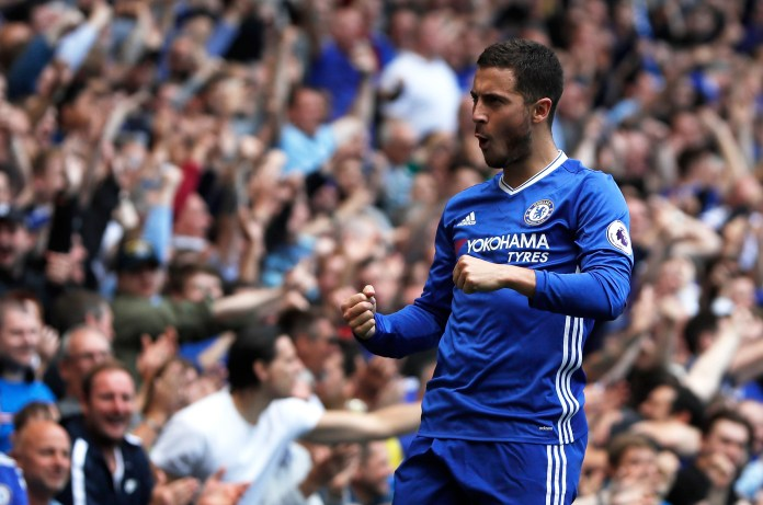 In this Sunday, May 21, 2017 file photo, Chelsea's Eden Hazard celebrates after scoring his side's second goal during their English Premier League soccer match against Sunderland at Stamford Bridge stadium in London.(Kirsty Wigglesworth/AP)
