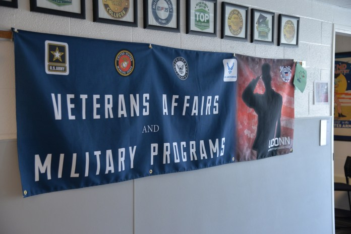 The UConn Veteran's Affairs office is located on the third floor of Arjona. The office helps veterans adjust to University life and provides a community of support. (Amar Batra/The Daily Campus)