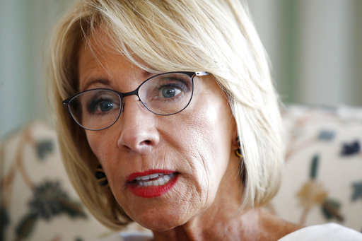 """In this Aug. 9, 2017 file photo, Education Secretary Betsy DeVos is interviewed in her office at the Education Department in Washington. Some University of Baltimore students are speaking out against DeVos, their scheduled fall commencement speaker. A crowd of students filed into a courtyard near the school on Monday, Sept. 11, holding protest signs that read """"support public schools #neverDeVos"""" and """"We are DeVos-stated."""" (AP Photo/Jacquelyn Martin)"""