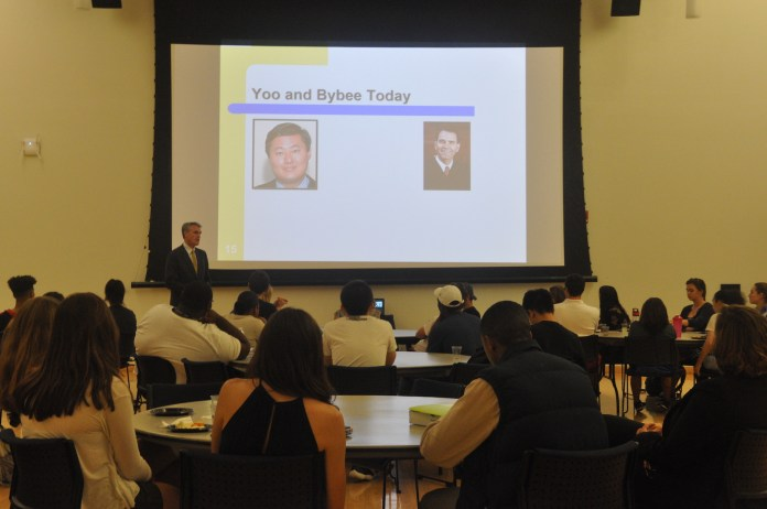 Dean and Professor of Law, Timothy Fisher, gives lecture on torture ethics in the Student Union Ballroom. He explains the history and legal issues behind torture memos. (Roselyn Terrazos-Moreno/The Daily Campus)