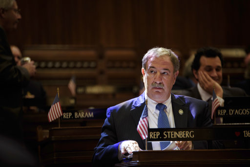 Rep. Jonathan Steinberg sits before a special session of the Connecticut House of Representatives in Hartford, Conn., Tuesday, Oct. 3, 2017. The Connecticut House of Representatives chose not to vote Tuesday after convening to consider an override of Gov. Dannel P. Malloy's budget veto. (AP/Monica Jorge
