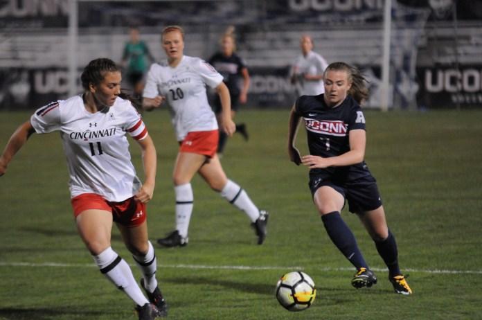 UConn's women's soccer team in a previous match against Cincinnati. (The Daily Campus/Mark Wezenski)