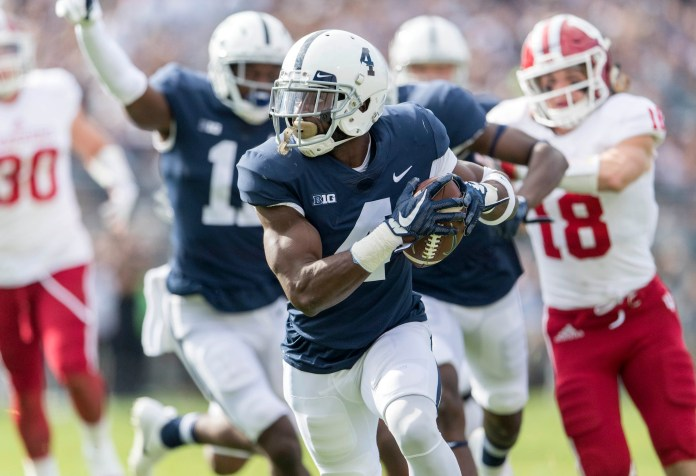 Penn State safety Nick Scott picks up the fumble to run it in for a touchdown against Indiana during an NCAA college football game in State College, Pa., Saturday, Sept. 30, 2017.Penn State won 45-14. (Abby Drey/Centre Daily Times via AP)