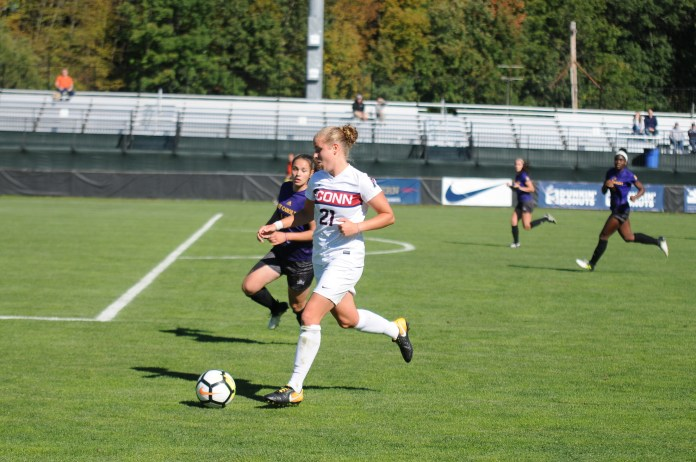 Vivien Beil (pictured) picked up an assist, but UConn fell at Memphis. (Natilija Marosz/The Daily Campus)