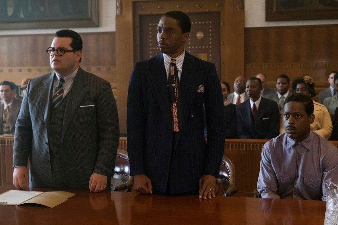 """This image released by Open Road Films shows, from left, Josh Gad, Chadwick Boseman and Sterling K. Brown in a scene from """"Marshall."""" (Barry Wetcher/Open Road Films via AP)"""