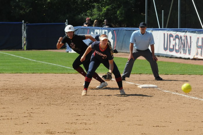 Boston College softball beat UConn 6-5 in 10 innings. This was 1 of 8 exhibition games the Huskies had scheduled in the fall (Ryan Murrace/The Daily Campus).