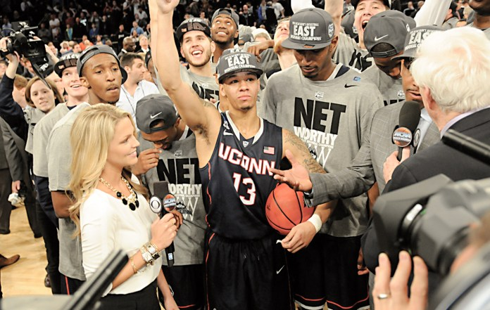 The UConn Huskies celebrating their NCAA championship win in 2014 (File Photo/The Daily Campus)