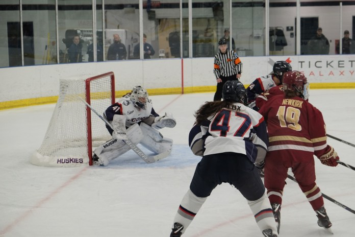 BC outshot UConn a whopping 47-30, but Belanger made 45 saves, the second-most of her career. (Jon Sammis/The Daily Campus)