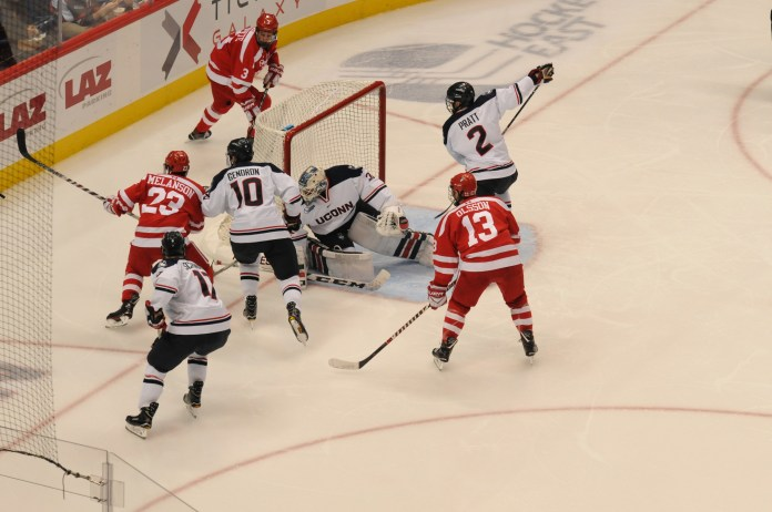 Goalie Adam Huska and the UConn defense gave up two quick goals to BU in their Saturday home-opener and never recovered (Jon Sammis/The Daily Campus)