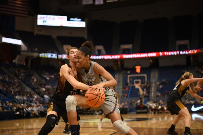 Azurá Stevens finished with 15 points after an 82-37 win over Fort Hays St. on Wednesday night. (Charlotte Lao/The Daily Campus)