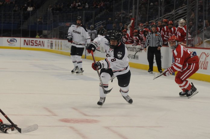 Spencer Naas breaks free in the slot for a shot against the Boston University Terriers. (Jon Sammis/The Daily Campus)