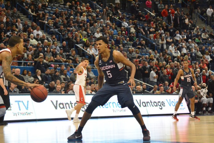 Vance Jackson (5) transferred from UConn to New Mexico after the 2016-2017 season and by NCAA transfer rules must sit out for the 2017-2018 season. (Amar Batra/The Daily Campus)