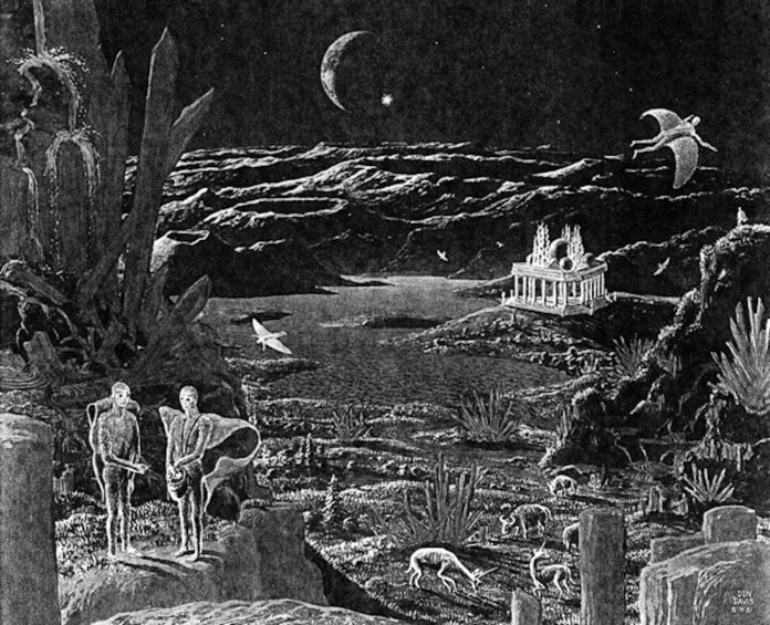 """A picture of the moon hoax scene, featuring some of the animals and creatures that """"roam"""" the moon. (Artist Don Davis, 1981)"""