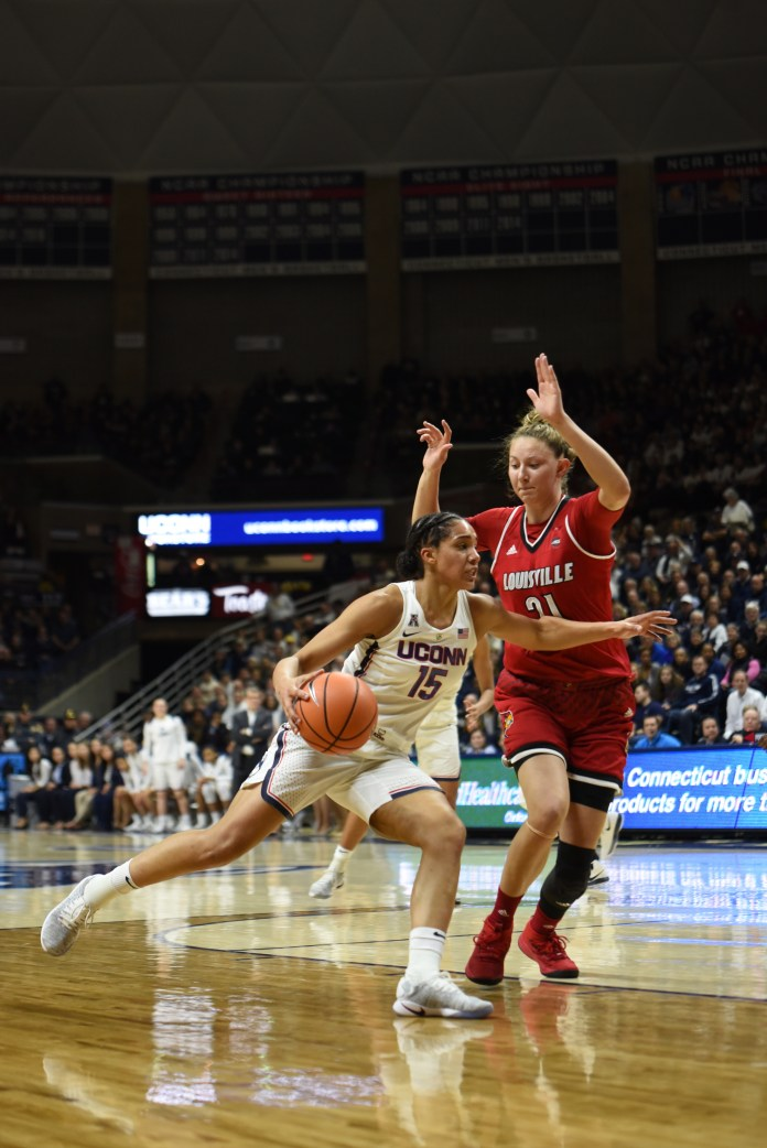 UConn defeats Louisville 69-58 on February 12 in Gampel Pavilion. Katie Lou Samuelson led the team with 26 points while Gabby Williams had 15 rebounds (Charlotte Lao/The Daily Campus).
