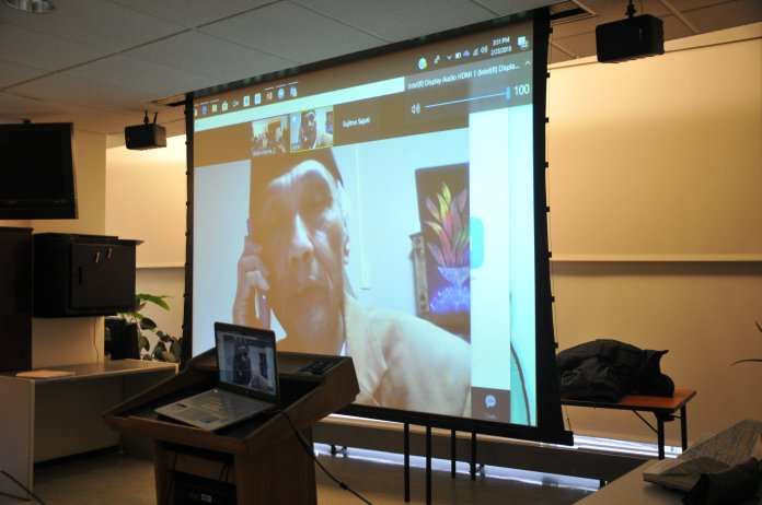 Students gather in solidarity over Skype with Sujitno, a UConn alumni with undocumented status. (Allegra Ranelli/The Daily Campus)