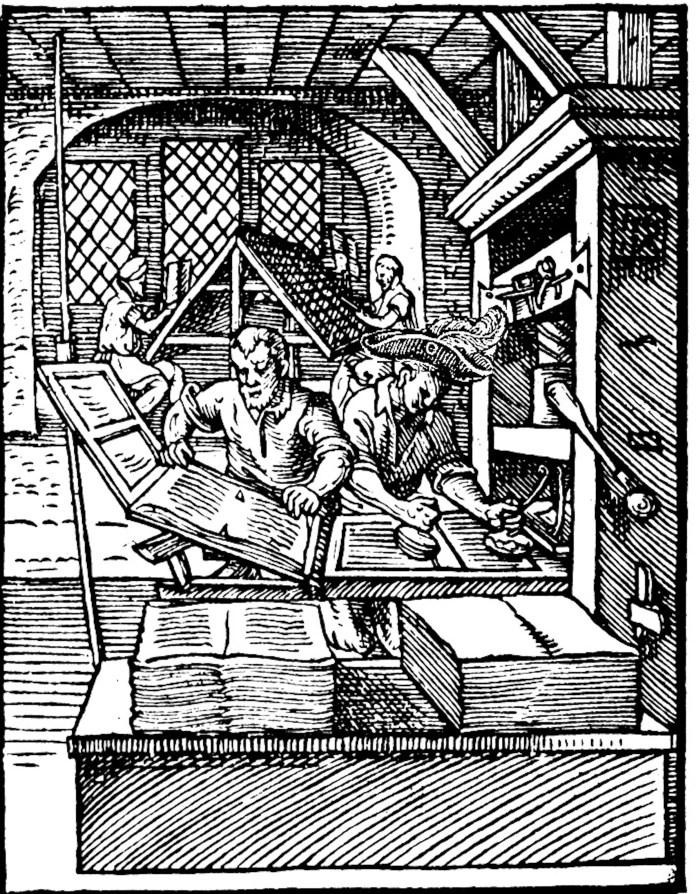A publishing company's workers on a printing press. John Wolfe was a notorious copyright infringer among 16th century publishers. Photo credit to Wikimedia Commons (with modification).
