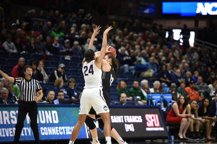 Napheesa Collier (picutred) and the Huskies will bring it on both ends of the court against the Bobcats Monday night (Charlotte Lao/The Daily Campus)