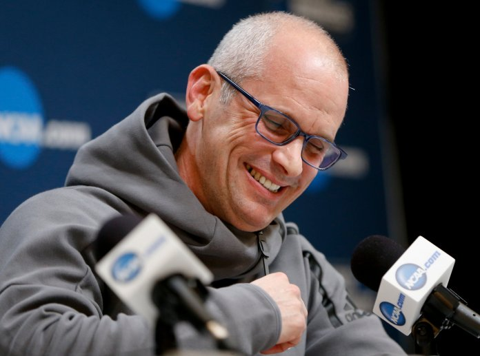 Former URI head coach Dan Hurley has reportedly signed a six-year deal to be UConn's men's basketball coach, which starts out at $2.75 million per year. (AP Photo/Keith Srakocic)