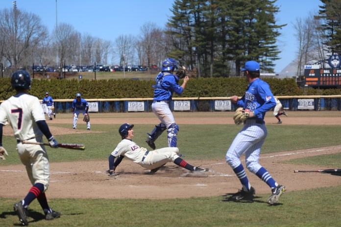 The Huskies take on Memphis again at J.O. Christian Field on a beautiful Sunday morning. The Huskies ended up sweeping Memphis this weekend 3-0 with a final win 4-0. (File Photo/The Daily Campus)