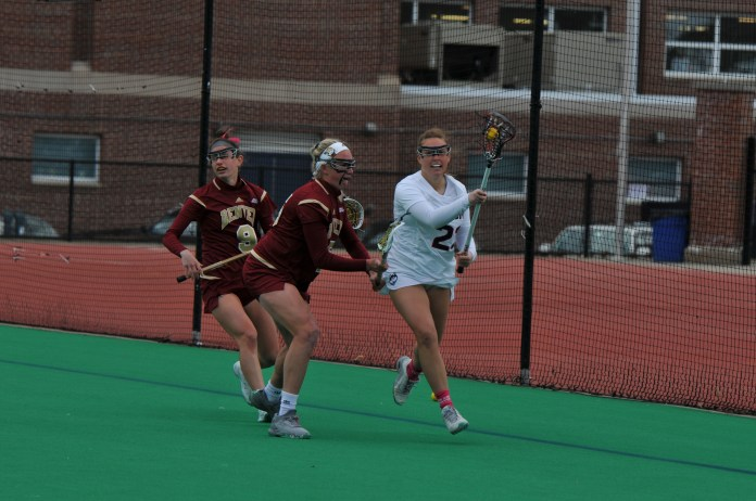 The UConn Women's Lacrosse team takes on the University of Denver on Saturday, March 24 at Sherman Family Sports Complex. The Huskies lost with a final score of 13-5. (Olivia Stenger/The Daily Campus)