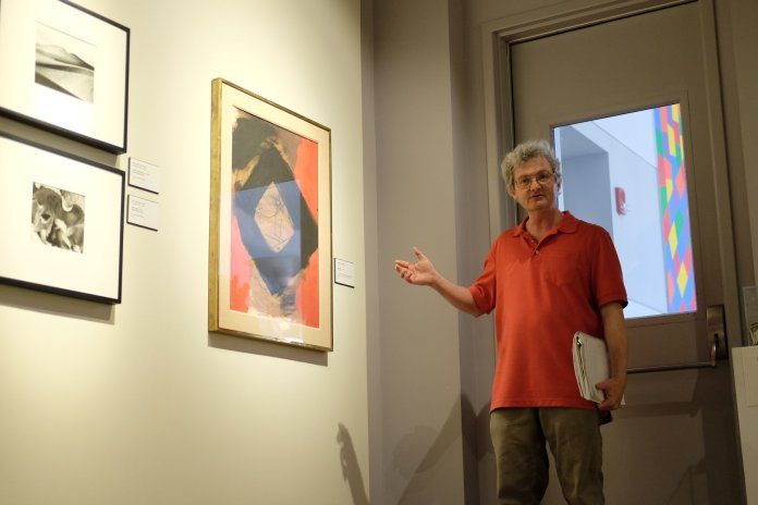 The Benton Museum hosts another installment of Art in Small Bites on Wednesday, Apr. 4. This installment focused on abstract pieces of art, culminating in the large piece that can be viewed by the main doors. (Jon Sammis/The Daily Campus)