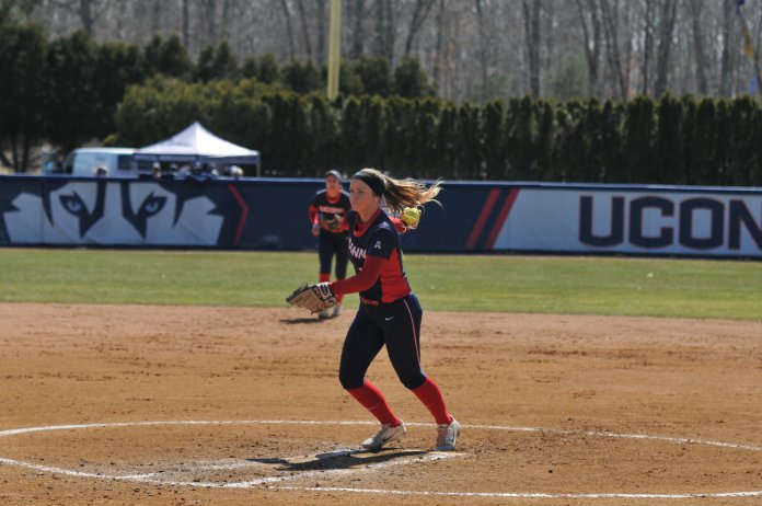 The Huskies faced the Knights in Saturday's game on the Burrill Family field. UConn won 2 of the 3 games scheduled for the weekend, losing 8-3, winning 11-3, and winning 5-1 (Jon Sammis/The Daily Campus)