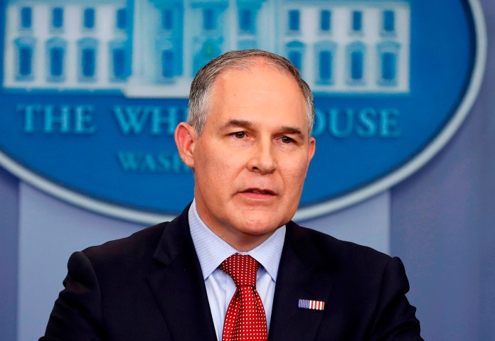 """In this June 2, 2017 file photo, Environmental Protection Agency administrator Scott Pruitt speaks in the Brady Press Briefing Room of the White House in Washington. White House officials sounded increasingly doubtful April 5, about the future of Pruitt, even as President Donald Trump appeared to throw him a public lifeline. Trump, asked if he still has confidence in Pruitt while boarding Air Force One, responded: """"I do."""" (AP Photo/Pablo Martinez Monsivais, File)"""