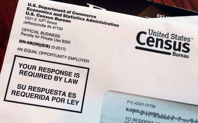 This envelope contains a 2018 census test letter mailed to a resident in Providence, R.I. The nation's only test run of the 2020 Census is in Rhode Island, and its drawing concerns from community leaders, good government groups and others about how it's being run. (AP Photo/Michelle R. Smith)