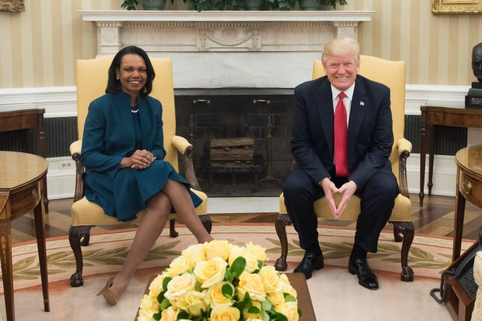 President Donald Trump meets with former Secretary of State Condoleezza Rice in the Oval Office, Friday, March 31, 2017. (D. Myles Cullen/Wikimedia Creative Commons)