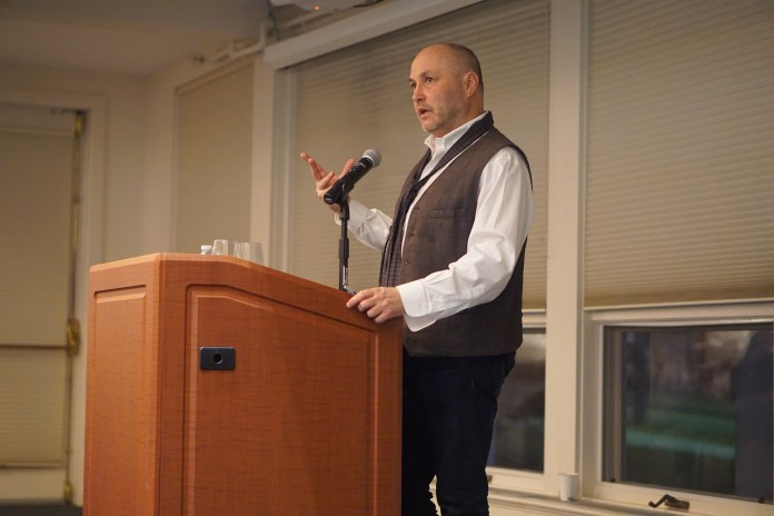 """Tuesday night marked the 20th annual Gerson Irish Reading, and to celebrate they brought in their third and now 20th reader Colum McCann. McCann has written a number of books over the years including """"TransAtlantic,"""" """"Let the Great World Spin,"""" """"Thirteen Ways of Looking,"""" """"Dancer"""" and many more. (Patrycja Jerzak/The Daily Campus)"""