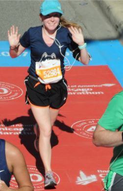 Caitlin Eaton-Robb is pictured crossing the finish line at the Chicago Marathon on October 8, 2017. This month, she will be running as a charity runner for the CMAK Foundation in the Boston Marathon on April 16.(Photos Courtesy of Caitlin Eaton-Robb)
