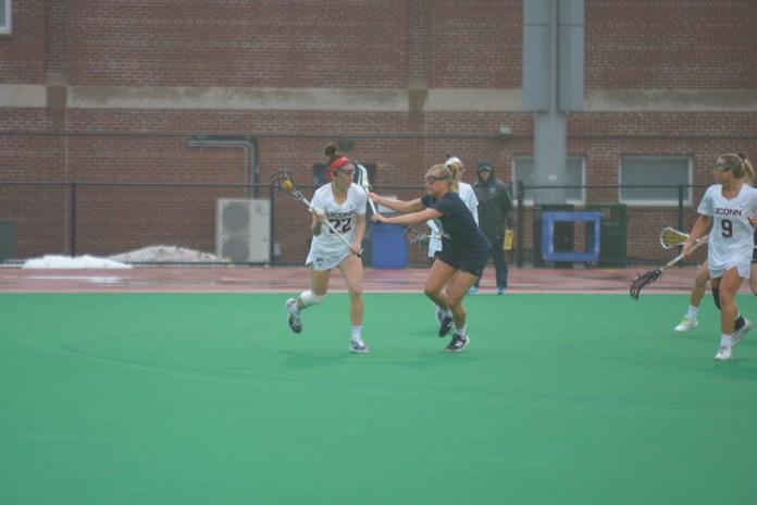 Grace McDonald (22) moves the ball against Villanova (Nick Hampton/The Daily Campus)