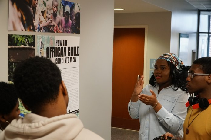 The demand for chocolate candy has given rise to child labor in Africa to the point of being a human rights crisis. UConn students and staff designed an exhibit that illustrates the real third-world costs of consuming chocolate. (Eric Wang/The Daily Campus)
