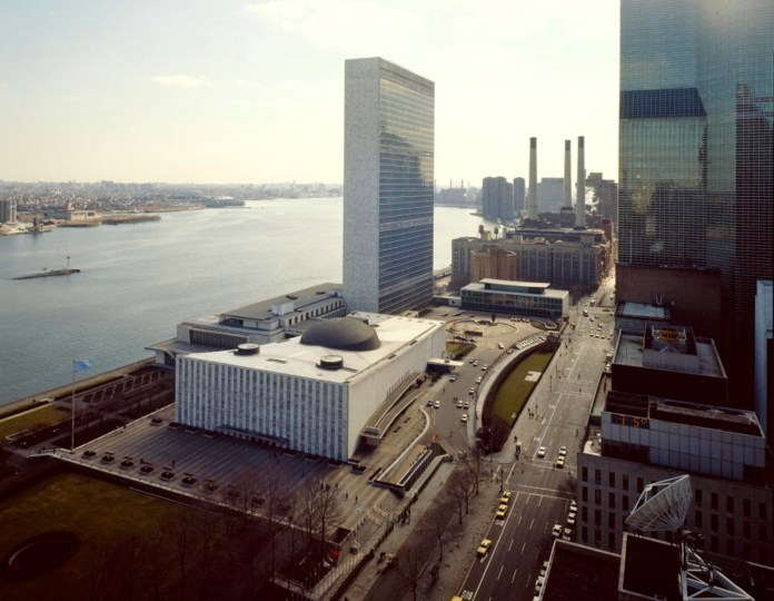 An aerial view from the north of United Nations Headquarters on the west-bank of the East River in New York City. (United Nations Photo/Creative Commons)