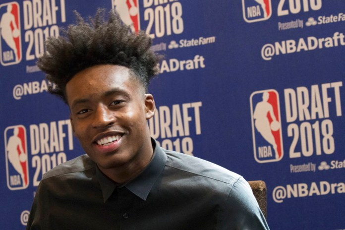 Alabama's Collin Sexton speaks to reporters during a media availability with the top basketball prospects in the NBA Draft, Wednesday, June 20, 2018, in New York. (AP Photo/Mary Altaffer)