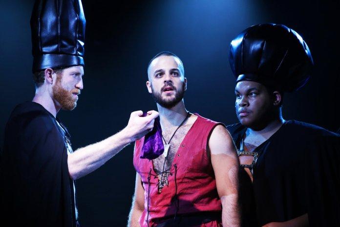 """Bryan Mittelstadt (Annas), Ryan Vona (Judas) and Tyler Grigsby (Caiaphas) in """"Jesus Christ Superstar"""" by Andrew Lloyd Weber."""